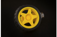Yellow wheel and motor for robotic projects