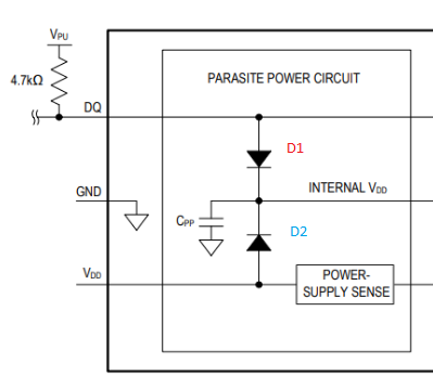 HUM: How to use the DS18B20 with parasitic power supply / e